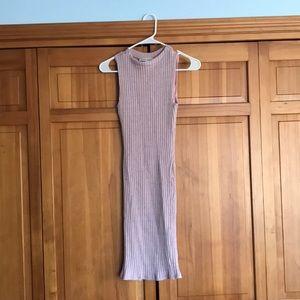 Mock neck body con mini dress with open back